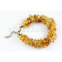 233.41CTW 7in. YELLOW QUARTZ CHIPPED STONE BRACELET MET