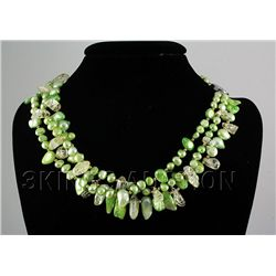 741.50CTW 19in. LIME GREEN FRESHWATER PEARL NECKLACE