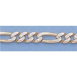 "Pure Gold 16"" 14k Gold-Yellow 3.6mm Rhod Figaro Chain"