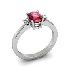 Garnet 1.00 ctw Diamond Ring 14kt White Gold