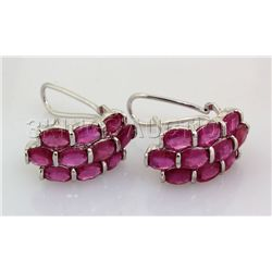 39.52CTW Pink Ruby Cluster Design Silver Earring