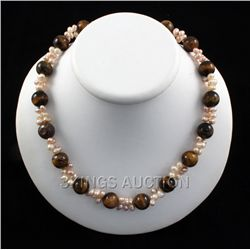 313.95CTW 18  TIGER EYE FRESHWATER PEARL WITH CORAL NEC