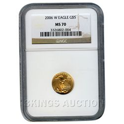 Certified $5 American Gold Eagle 2006-W MS70 NGC