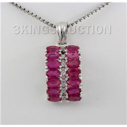 22.31CTW Fashion Pink Ruby Sterling Silver Pendant