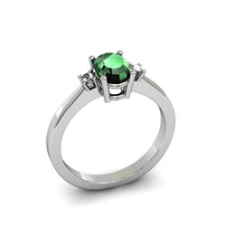 Emerald 0.52 ctw Diamond Ring 14kt White Gold