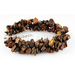 266.50CTW 7in. TIGER EYE CHIPPED STONE BRACELET METAL L