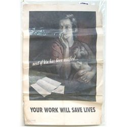 "World War II Poster ""Your Work Will Save Lives"""