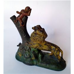 Antique Toy Bank Of A Lion And Monkey