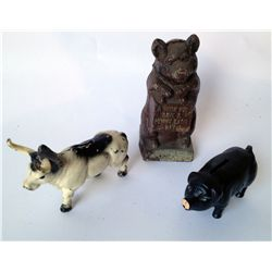 Three Cast Iron Toy Banks