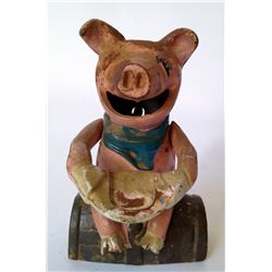 Cast Iron Bank: A Happy Pig Eats Coins