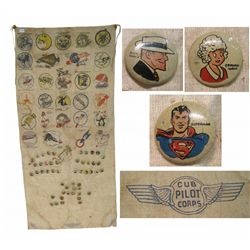 Cloth Banner With Vintage Pop Culture Pins