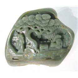 Chinese Jade Carved Pine & Chess Man