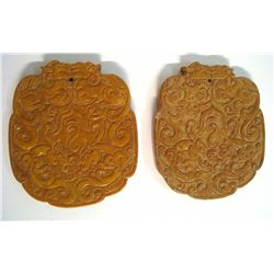 Chinese Rose Colored Shoushan Pendants