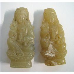 Pair Of Chinese Jade Quan Lin Figurines