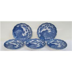 Five Chinese Blue & White Porcelain Plates