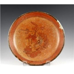 A Pre-Columbian Maya Plate w/ Figure, Ex Sotheby's