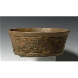 A Mayan Carved Swimmer Bowl