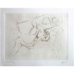 "Levine Hand Signed Etching ""A Wedding Gift"""