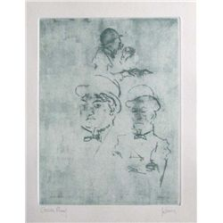 "Levine Hand Signed Etching ""Thieves"""