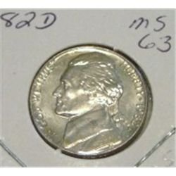 1982-D JEFFERSON NICKEL RED BOOK VALUE IS $3.50 *RARE MS-63 HIGH GRADE - NICE COIN*!!