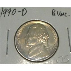 1990-D JEFFERSON NICKEL *RARE BU UNC HIGH GRADE - NICE COIN*!!