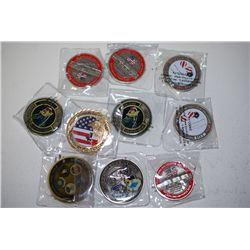 Various Military Challenge Coins; Various Dates, Bases, Etc.; Lot of 10; EST. $40-80