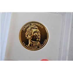 2008 US Presidential James Monroe $1; Pure 24K Gold Enriched; EST. $5-10