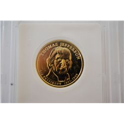 2007 US Presidential Thomas Jefferson $1; Pure 24K Gold Enriched; EST. $5-10