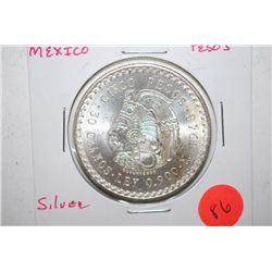 1948 Mexico Cinco Pesos Foreign Coin; 0.900 Ley 30 Grams; Silver; EST. $30-40