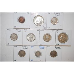 Various US Coins; Indian Head One Cent, Bufflo Nickel (4), Barber One Dime, Washington Quarter (2),