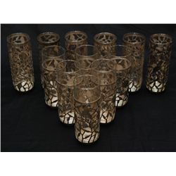 12 GLASSES HAVING FLORAL MEXICAN SILVER INSERTS