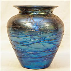 DURAND BLUE IRIDESCENT ART GLASS THREADED VASE