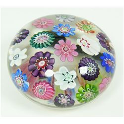 CLICHY SPACED MILLEFIORI ART GLASS PAPERWEIGHT