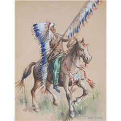 EDWARD BOREIN WATERCOLOR ON PAPER OF INDIAN CHIEF