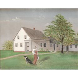 GRANT WOOD OIL PAINTING ON CANVAS OF IOWA SCENE