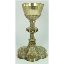 FINE JEWELED BELGIAN SILVER CHALICE & WAFER PLATE
