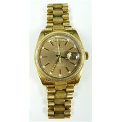 GENTS 18K YG ROLEX PRESIDENT WATCH WITH BOX