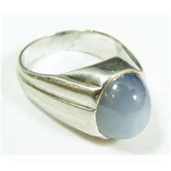 18K WHITE GOLD & STAR SAPPHIRE MEN'S RING