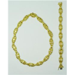 18K YG 2.25CTW DIA NECKLACE & BRACELET SUITE