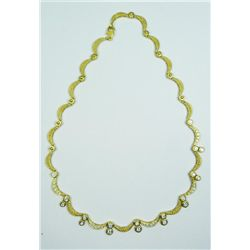 18K YELLOW GOLD CRESCENT LINK NECKLACE