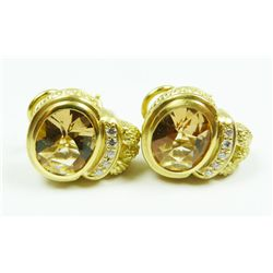 18K YG 6.00ctw CITRINE & DIAMOND EARRINGS