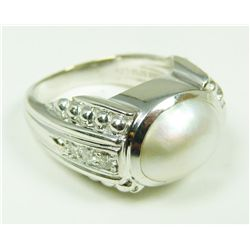 18K WG JUDITH RIPKA PEARL & DIAMOND RING