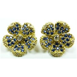 18K 0.24ctw DIAMOND & SAPPHIRE FLOWER EARRINGS