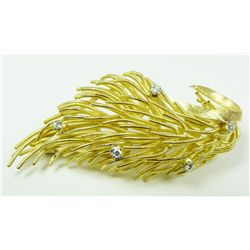 CARTIER 18K YG DIAMOND FLORAL PIN