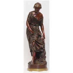 VAL D'OSNE FOUNDRY BRONZE SCULPTURE OF WOMAN