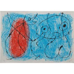 JOAN MIRO DRYPOINT IN COLORS ON PARCHMENT PAPER