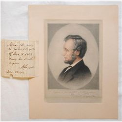 ABRAHAM LINCOLN HAND WRITTEN LETTER WITH ENGRAVING