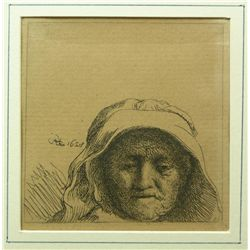 A REMBRANDT ETCHING OF HIS MOTHER