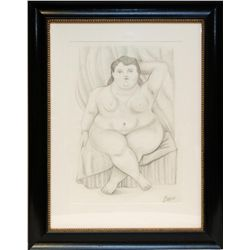 FERNANDO BOTERO PENCIL ON PAPER OF NUDE FEMALE