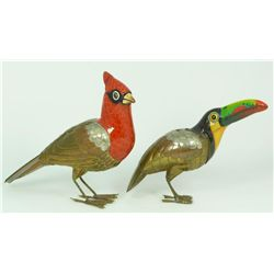 SERGIO BUSTAMANTE MIXED METAL CARDINAL AND TOUCAN